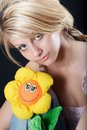 Free Beautiful Country Girl With A Flower Toy Royalty Free Stock Photos - 991258