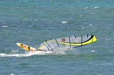 Free A Windsurfer Capsizes At Speed Royalty Free Stock Photos - 990818