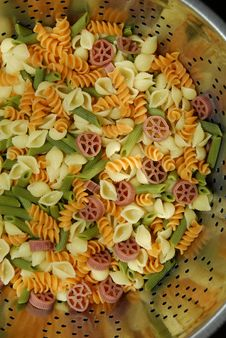 Free Bowl Of Mixed Color Pasta Noodles Stock Photo - 994080
