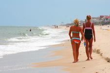 Blonde & Tan On The Beach 4 Stock Photos