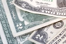 Free Two Dollar Bills - Horizontal Royalty Free Stock Images - 997059