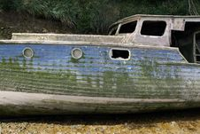 An Old Sunken Shipwrecked Boat Stock Images