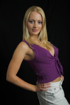 Free Attractive Blond Model On Black Background Stock Images - 997924