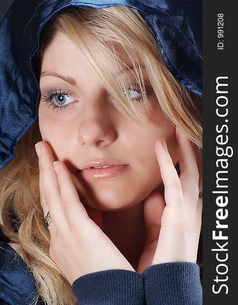 Blonde girl looking