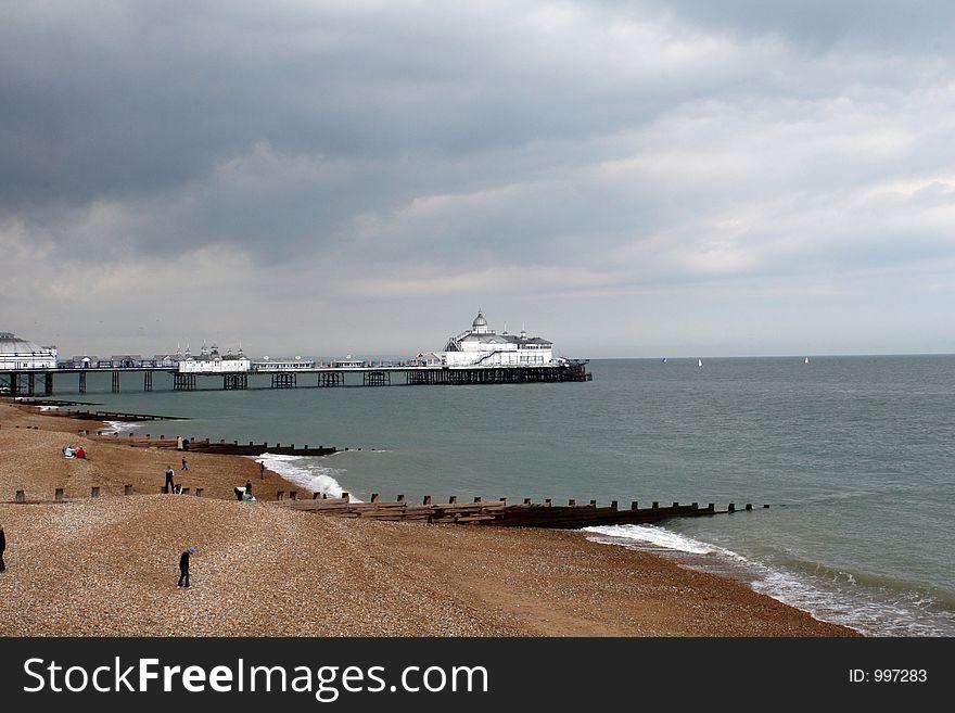Pier, beach, and groins