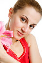 Free Nice Girl  With A Pink Lily Royalty Free Stock Photos - 9906228