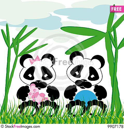 Panda cuddles with bamboo Stock Photo
