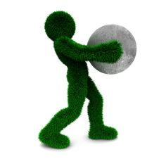 Free 3D Man Holds Moon Isolated On White. Royalty Free Stock Photography - 9900657
