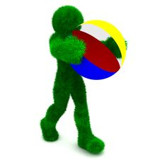 3D Man Holds The Beach Ball Isolated On White. Stock Photo