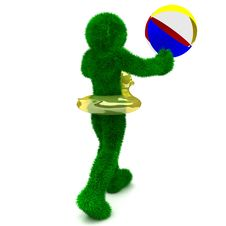3D Man Holds The Beach Ball Isolated On White. Stock Images