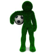 Free 3D Man And The Ball Isolated On White. Stock Photography - 9901532