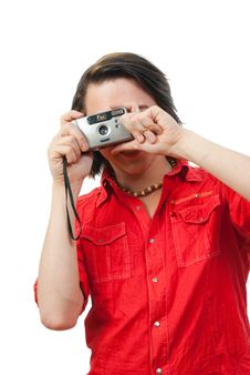 Free Young Guy Photographs Something. Royalty Free Stock Photos - 9901618