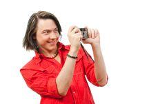 Free Young Guy Photographs Something. Royalty Free Stock Image - 9901626