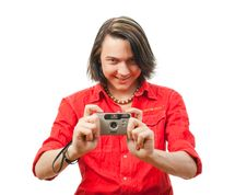 Free Young Guy Photographs Something. Stock Photography - 9901632