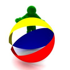 3D Man Holds The Beach Ball Isolated On White. Stock Photography