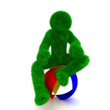 3D Man Sits On Beach Ball Isolated On White. Royalty Free Stock Image