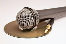 Free A Microphone And A Jack Over A CD. Stock Images - 9901914