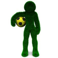 3D Man And The Ball Isolated On White. Royalty Free Stock Photo