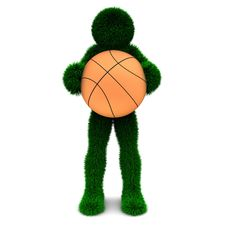 3D Man Holds The Ball Isolated On White. Royalty Free Stock Image