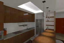 Free Modern Kitchen 3d Rendering Royalty Free Stock Photos - 9902488