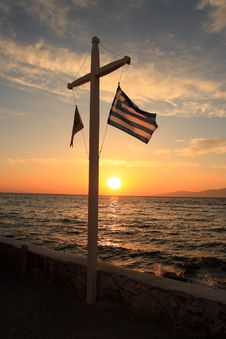 Free Greece Flag Under Sunset Stock Photos - 9903943