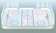 Vector Ice Hockey Field View. Stock Images