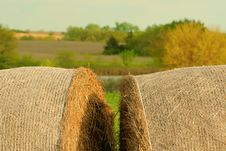 Free Two Round Bales, Rural Landscape Royalty Free Stock Images - 9905499