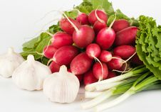 Free Spring Onions, Garlic, Lettuce And Radish Royalty Free Stock Photo - 9906495