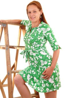 Free Girl In Green Dress. Royalty Free Stock Images - 9907169