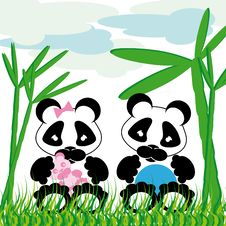 Free Panda Cuddles With Bamboo Royalty Free Stock Photos - 9907178
