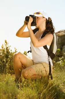 Free Young Woman Take Photography In The Mountain Stock Images - 9907454