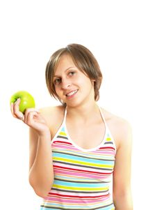 Free Smiling Pretty Lady With A Green Apple Royalty Free Stock Image - 9909236