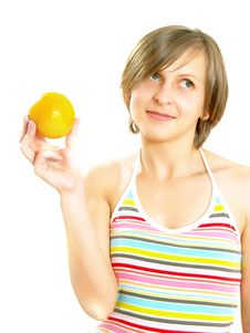 Free Happy Attractive Girl With Citrus Fruit Royalty Free Stock Images - 9909339
