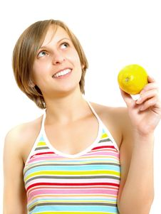 Free Happy Girl Holding A Fresh Lemon Stock Photography - 9909342