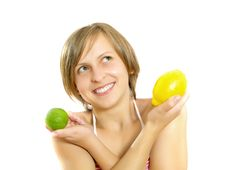 Free Happy Cute Girl With Lemon And Lime Royalty Free Stock Images - 9909359