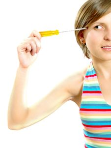 Free Attractive Girl Thinking With A Screwdriver Royalty Free Stock Photography - 9909367