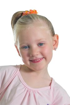 Free Portrait Of The Little Smiling Girl Stock Images - 9909384