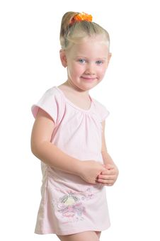 Free Portrait Of The Little Smiling Girl Stock Photography - 9909482