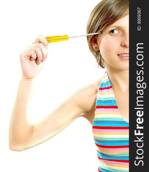 Attractive girl thinking with a screwdriver