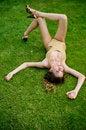 Free Girl In The Golden Beachwear Taking Sunbath Stock Photos - 9919573