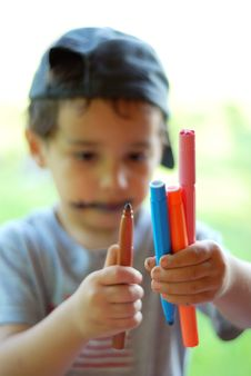 Free Boy With Colors Stock Photography - 9910412