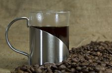 Free Fresh Coffee With Beans Stock Image - 9911071