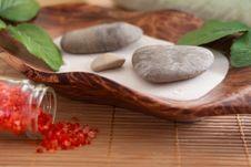 Bath Salt, Massage Stones, Bowl Stock Image