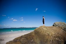 Free Woman On Rocks Stock Photography - 9911272