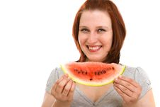 Free Woman Eating Water Melon Stock Image - 9911311