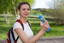 Free Active Woman Drinking Water Royalty Free Stock Photo - 9911405