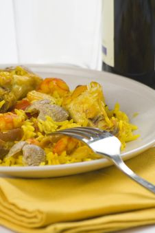 Delicious Seafood Paella And Chicken Rice Yellow Stock Photos