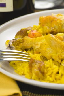 Free Delicious Seafood Paella And Chicken Rice Yellow Stock Photos - 9911893