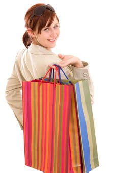 Free Young Woman With Shopping Bags Stock Photo - 9912380