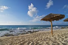 Free Caribbean Beach Palapa Royalty Free Stock Image - 9912786